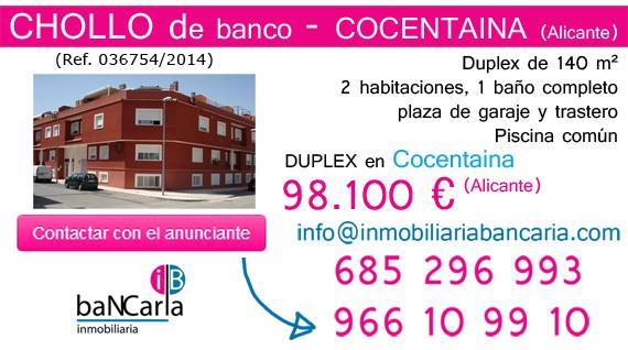 Duplex de banco a la venta en Cocentaina (Alicante) inmobiliaria bancaria p