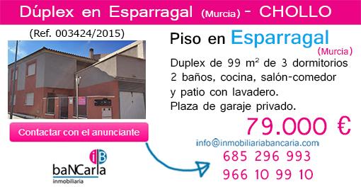 Duplex en venta de banco en Esparragal Murcia Piso