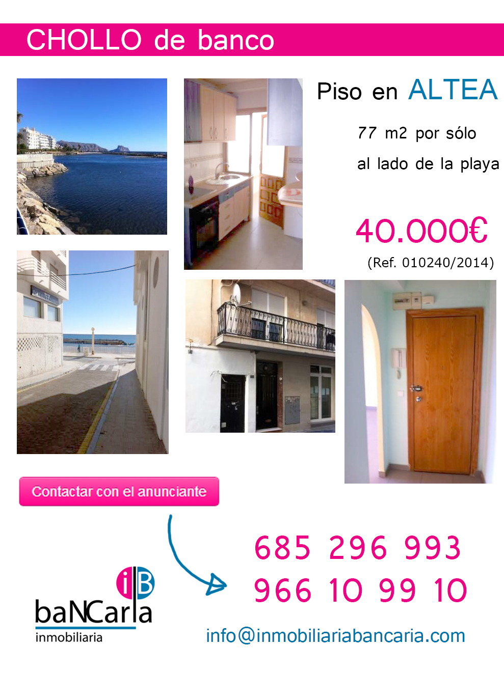 Piso de banco en venta en altea playa inmobiliaria for Pisos de bancos en la playa