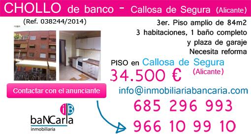 Piso de banco a la venta en Callosa de Segura (Alicante) inmobiliaria bancaria p