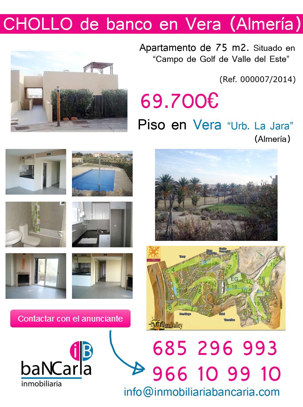 Apartamento piso de banco en venta en vera almeria 75 m for Pisos de bancos en almeria