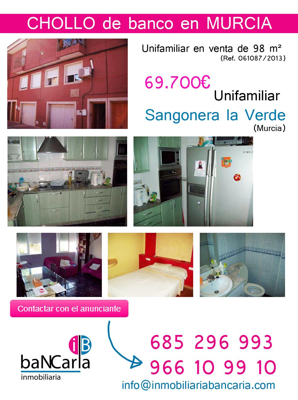 Unifamiliar en venta de banco en Sangonera (Murcia)